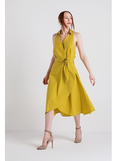 Xtsy Kolsuz Kuşaklı Midi Elbise Hardal